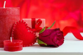 праздничные, день святого валентина,  сердечки,  любовь, свечи, сердце, подарок, роза