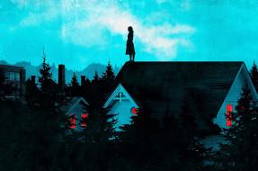 рисованное, кино,  мультфильмы, женщина, крыша, дома, деревья, фабрика
