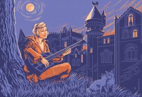 рисованное, кино,  мультфильмы, трубадур, гитара, серенада, дворец, кошки, петух, дерево, луна