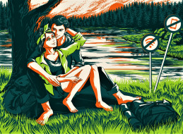 парень, девушка, дерево, озеро, знаки