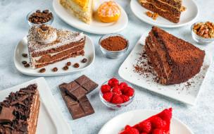 еда, торты, шоколадные, ассорти