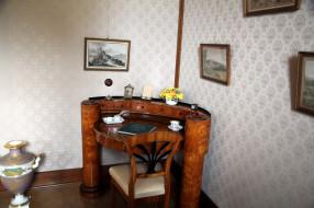 интерьер, кабинет,  библиотека,  офис, картины, ваза, бюро