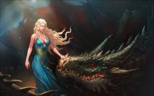 рисованное, кино,  мультфильмы, девушка, фон, платье, дракон