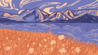 горы, река, трава, цветы