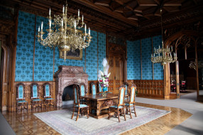интерьер, дворцы,  музеи, люстры, камин, ковер
