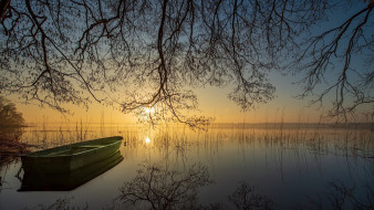 корабли, лодки,  шлюпки, озеро, лодка, закат