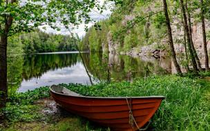 корабли, лодки,  шлюпки, река, лодка, лето