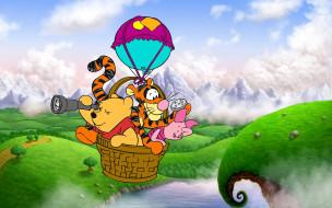 мультфильмы, winnie the pooh, винни-пух, тигра, пятачок, воздушный, шар, полет