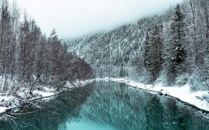 обои для рабочего стола 2560x1600 природа, реки, озера, зима, река, снег