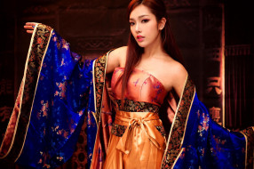 шатенка, кимоно