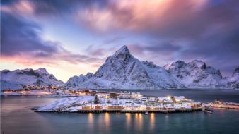 горы, фьорд, дома, зима, снег