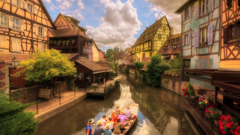 канал, лодка, туристы