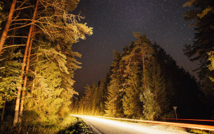 звездное, небо, дорога, вечер