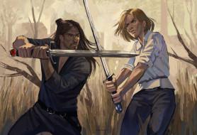 мужчина, женщина, мечи, бой