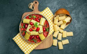 еда, макароны,  макаронные блюда, паста, соус, помидоры