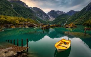 корабли, лодки,  шлюпки, горы, лодка, фьорд