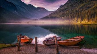 корабли, лодки,  шлюпки, горы, озеро, туман