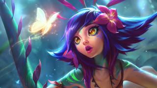 видео игры, league of legends, лицо, цветы, бабочка, neeko