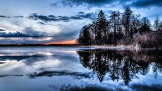природа, восходы, закаты, озеро, закат, кусты, водная, гладь