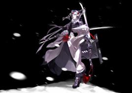 аниме, оружие,  техника,  технологии, девушка, снег