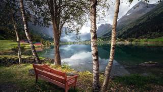 природа, реки, озера, горы, озеро, скамейка