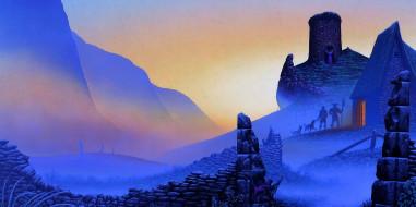 фэнтези, иные миры,  иные времена, горы, люди, собаки, дом, забор