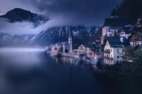 города, гальштат , австрия, облака, пейзаж, природа, озеро, дома, вечер, гальштат, коммуна