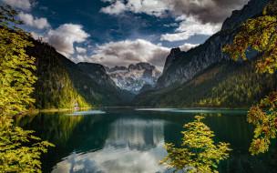природа, реки, озера, горы, ветки, озеро, отражение, австрия, альпы, рябина, austria, alps, lake, gosau, gosauseen, upper, верхняя, гозау