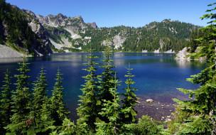 природа, реки, озера, горы, озеро, елки