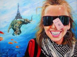 рисованное, люди, башня, слон, рыбы, девушка, очки, ярлык