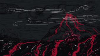 фэнтези, существа, вулкан, лава, саламандра