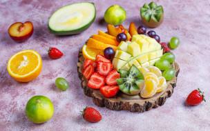 еда, фрукты,  ягоды, клубника, киви, виноград