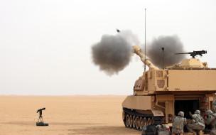 техника, военная техника, выстрел, пустыня