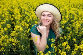 девушки, - блондинки,  светловолосые, блондинка, шляпа, поле, рапс