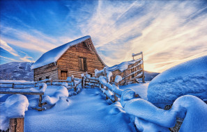 города, - здания,  дома, дом, забор, снег, зима