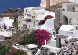 города, санторини , греция, дома