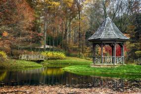 природа, парк, осень, листопад, водоем, беседка