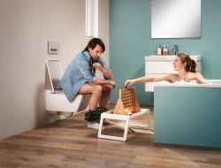 мужчина, женщина, унитаз, ванна, игра