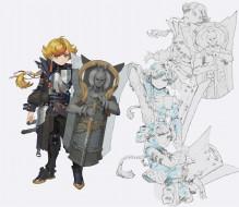 аниме, оружие,  техника,  технологии, мальчик, рыцарь, щит