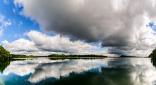 природа, реки, озера, лето, водная, поверхность, деревья, облака, отражение