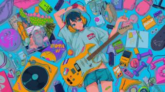 аниме, музыка, девочка, гитара, вещи