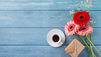 кофе, герберы, гипсофила, подарок