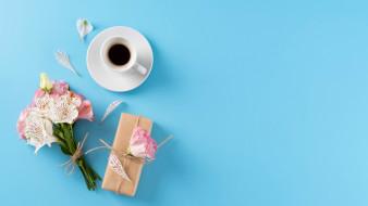 альстромерия, подарок, кофе