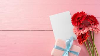 герберы, подарок, лента, бант, записка