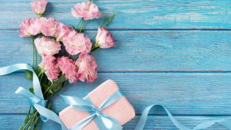розовая, эустома, букет, подарок, лента, бант