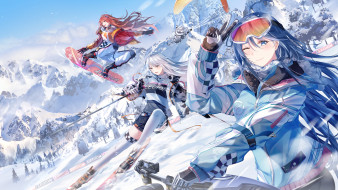 аниме, зима,  новый год,  рождество, девушки