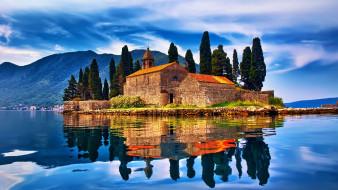 города, - здания,  дома, горы, озеро, островок