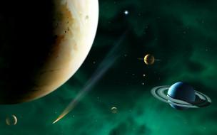 космос, арт, планеты, комета