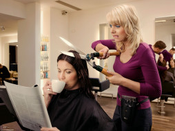 женщины, парикмахерская, журнал, ножницы