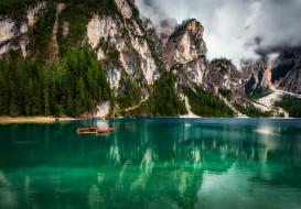 природа, пейзажи, облака, пейзаж, горы, озеро, лодки, италия, доломиты, брайес